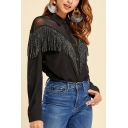 Cool Womens Sheer Mesh Patched Long Sleeve Turn down Collar Fringe Button down Relaxed Shirt Top in Black
