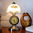 Brass Single Table Light with Clock Decor Vintage Printed Glass Scalloped Dome Reading Book Lamp