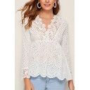 Adorable Womens Polka Dot Print Long Sleeve Lace Trim V-neck Ruffled Trim Regular Fit Blouse Top in White