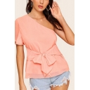 Popular Womens Chiffon Single Sleeve Oblique Shoulder Bow Tied Front Regular Fit Blouse in Pink