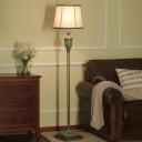 Traditional Drum Shade Floor Lamp Single Light Fabric Standing Floor Light in Brown