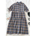 Fashion Girls Plaid Pleated Tiered Button Collar Short Bishop Sleeve Midi A Line Dress