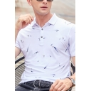 Formal Mens Polo Shirt All over Leaf Printed Button Short Sleeve Turn down Collar Regular Fitted Polo Shirt
