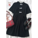Cool Chinese Stylish Button Lace Patchwork Pleated Stand Collar Short Sleeve Midi A Line Dress in Black
