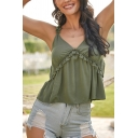 Sexy Womens Solid Color Stringy Selvedge Embellished Backless V Neck Sleeveless Cami Top in Army Green