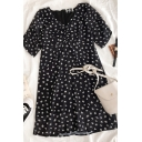 Hot Summer Ditsy Floral Printed Ruched Zip Back V Neck Short Sleeve Midi Fitted A Line Dress for Ladies