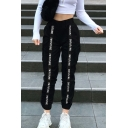 Black Hip Hop I'm Future Letter Print Tape Panel High Waist Ankle Length Cuffed Baggy Pants for Ladies