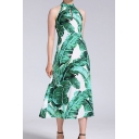 Fashion All over Leaf Printed Sleeveless Cut out Mid A-line Tank Dress in Green