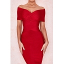 Boutique Womens Red Off the Shoulder Criss Cross Midi Bodycon Evening Dress