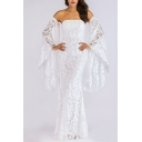 Unique See-through Applique Lace Bell Long Sleeve Off the Shoulder Long Fishtail Dress in White