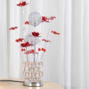 Red/Pink Finish Ball Shade Table Lighting Art Deco Aluminum Wire LED Parlour Flower Desk Lamp with Cuboid Crystal Block Base