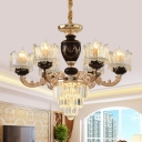 Black-Gold 6 Heads Chandelier Vintage Crystal Cup Shaped Hanging Light with Tapered Bottom