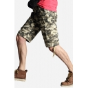 Unique Mens Shorts Camo Pattern Zip Fly Button Drawstring Detail Knee Length Straight Fit Cargo Shorts with Flap Pockets