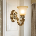 1/2-Light Bell Up Wall Light Fixture Antiqued Gold Finish Tan Glass Wall Mounted Lamp