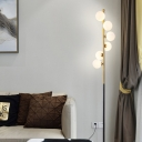 Ball Shade Living Room Floor Stand Light Opal Glass 6-Head Modern LED Floor Lamp in Black and Gold