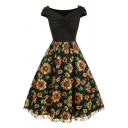 Gorgeous Ladies Sunflower Printed Short Sleeve V-neck Ruched Patchwork Mid Pleated A-line Dress in Black