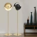Black/Gold Domed Standing Floor Lamp Post Modern Single Light Metallic Adjustable Floor Lighting