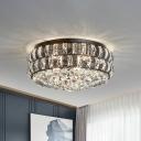Black Drum Shaped Flush Mount Light Modernism Crystal 7 Bulbs Bedroom Ceiling Fixture