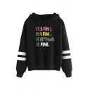 Letter Schrute Radish Graphic Striped Long Sleeve Drawstring Loose Fit Stylish Hoodie for Men