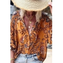 Ethnic Womens Allover Flower Printed Blouson Sleeve V-neck Loose Fit Shirt Top in Orange