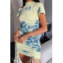 Unique Womens Tie Dye Printed Drawstring Front Knit Short Sleeve Mock Neck Short Fitted Dress in Blue