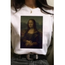 Cool Mona Lisa Patterned Short Sleeve Crew Neck Regular Fitted T Shirt in White