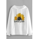 Fashionable Womens Letter Live A Little Sunflower Graphic Long Sleeve Drawstring Kangaroo Pocket Relaxed Hoodie in White