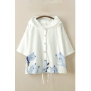Fancy Womens Sun Protection Cartoon Cat Print 3/4 Sleeves Hooded Button up Drawstring Hem Loose Shirt
