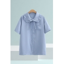 Simple Solid Color Stringy Selvedge Short Sleeve Peter Pan Collar Bow Tie Button up Chest Pocket Relaxed Shirt Top