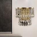 2-Layer Crystal Pendalogues Flush Mount Country Style 1 Light Living Room Wall Lamp in Brass