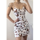 Pretty Womens Allover Butterfly Printed Spaghetti Straps Short A-line Cami Dress in White