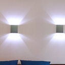 Metal Box Mini Up Down LED Wall Sconce Minimalist Silver Wall Lighting Ideas in Blue/Red/White Light