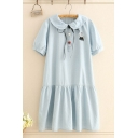 Trendy Girls Embroidered Short Sleeve Peter Pan Collar Colorful Button up Ruffled Hem Long Swing Dress in Light Blue