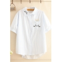Fancy Girls Cat Embroidered Striped Short Sleeve Turn down Collar Chest Pocket Curved Hem Loose Shirt Top