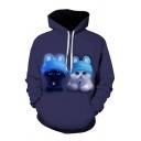 Cool Mens 3D Cat Pattern Pocket Drawstring Long Sleeve Regular Fit Hooded Sweatshirt in Dark Blue