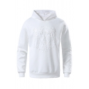 Stylish Mens Solid Color Tiger Embossed Long Sleeve Regular Fitted Hooded Sweatshirt in White