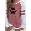 Leisure Womens Cartoon Paw Print Striped Contrasted Long Sleeve Round Neck Loose T-shirt