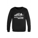 Creative Character Bike Letter Evolution Mountain Bike Printed Long Sleeve Round Neck Regular Fitted Graphic Pullover Sweatshirt for Men