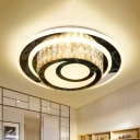 Crystal-Encrusted LED Flushmount Minimalist Stainless Steel Moon Bedroom Flush Mount Ceiling Fixture