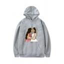 Cozy Mens Character Pattern Pocket Drawstring Long Sleeve Regular Fit Hooded Sweatshirt
