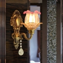 1-Light Wall Mounted Light with Flower Shade Clear and Pink Glass Traditional Corner Wall Lamp in Brass