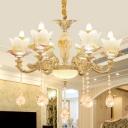 Mid-Century Flower Chandelier Lamp Fixture 6-Bulb Crystal Hanging Light Kit in Gold