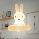 White Rabbit Pendulum Light Cartoon 1 Bulb Plastic Pendant Lighting for Nursery School