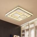 Crystal-Encrusted Nickel Ceiling Lighting Square Minimalist LED Flush Mount Fixture for Bedroom