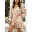 Vacation Ladies Allover Floral Embroidered Sheer Lace Long Sleeve Surplice Neck Bow Tied Waist Mini Wrap Dress in Pink