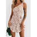 Pretty Girls Ditsy Floral Printed Bow Tied One Shoulder Ruffled Trim Short A-line Dress in White