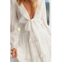 Fancy Ladies Solid Color Sheer Long Sleeve Deep V-neck Bow Tied Front Ruffled Trim Mini Pleated A-line Dress