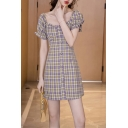 Womens Trendy Plaid Pattern Puff Sleeve Square Neck Stringy Selvedge Button down Mini A-line Dress in Purple
