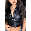 Cool Womens Leather Short Sleeve Spread Collar Press Button down Slim Cropped Shirt in Black