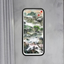 Green Mountain Drawing Wall Mural Light Chinese Style Metal LED Sconce Lighting Fixture with Black Frame